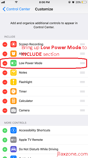 iOS 11 Low Power Mode jilaxzone.com Control Center Customize setup