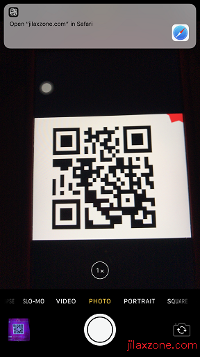 iOS 11 QR Code Scanner jilaxzone.com use iOS Stock Camera app