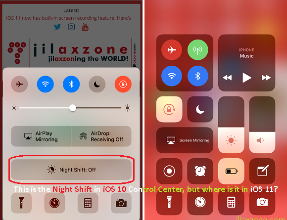 iOS 11 hidden Night Shift Mode jilaxzone.com