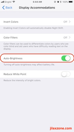 iOS 11 Display Auto-Brightness jilaxzone.com Display Accomodations