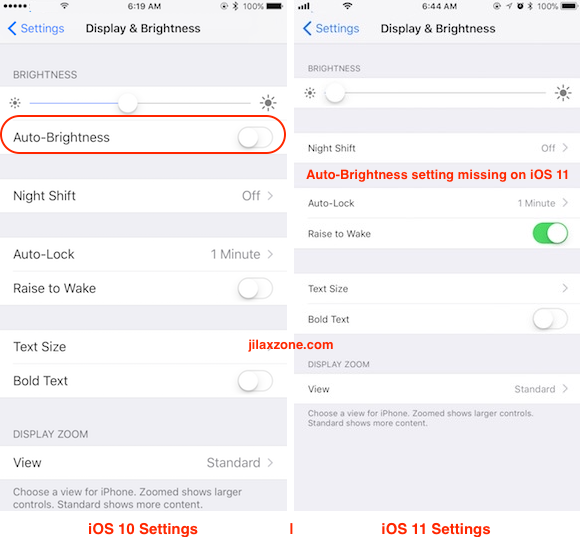 iOS 11 Display Auto-Brightness jilaxzone.com iOS 10 vs iOS 11