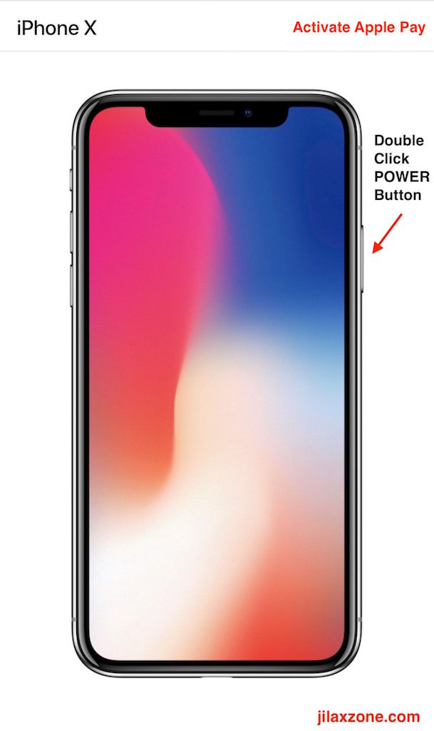Apple iPhone X Navigation jilaxzone.com Activate Apple Pay
