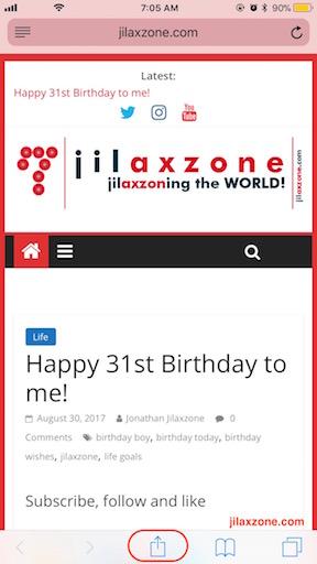 iOS Home Screen Website Bookmarking jilaxzone.com tap open button