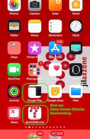 iOS Home Screen Website Bookmarking jilaxzone.com website bookmarking result