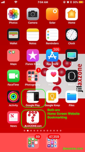 iOS Home Screen Website Bookmarking jilaxzone.com website bookmarking result