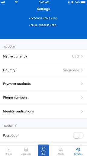 Coinbase app jilaxzone.com bitcoin Settings Menu