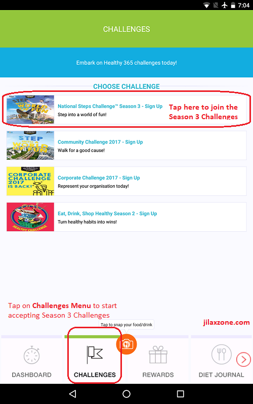 HPB Healthy 365 app jilaxzone.com Season 3 accept the challenge