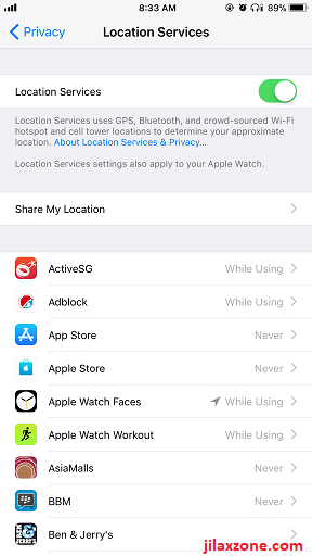 iPhone X jilaxzone.com Disable Location Service