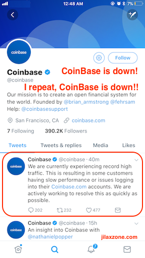 CoinBase is down jilaxzone.com #coinbaseisdown