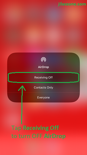 iOS 11 AirDrop jilaxzone.com Receiving OFF Control Center