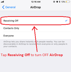 iOS 11 AirDrop jilaxzone.com Receiving OFF