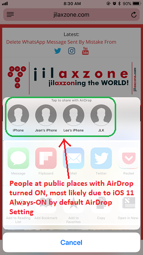 iOS 12 AirDrop jilaxzone.com vulnerable iPhone users