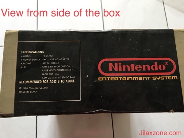 Nintendo NES Jilaxzone.com Nintendo box view from side
