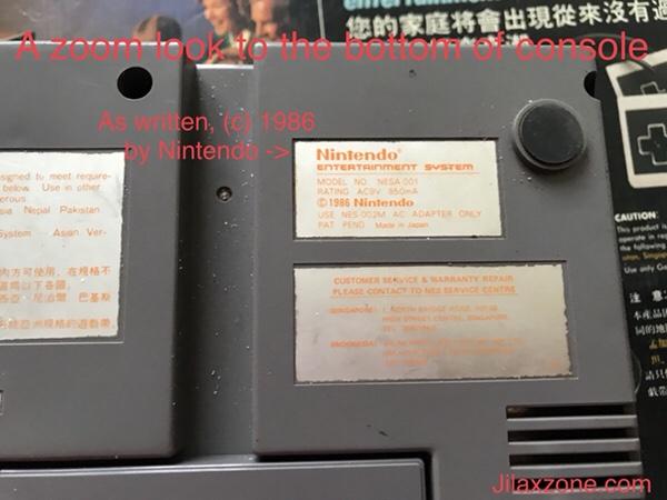 Nintendo NES Jilaxzone.com Copyright 1986 and Made in Japan!