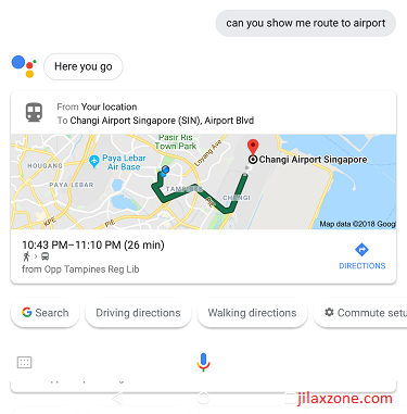 DIY Smart Speaker jilaxzone.com Google Assistant showing route to airport 2