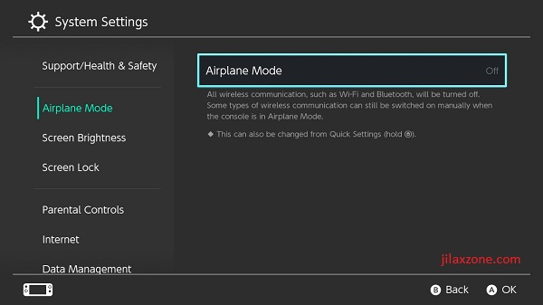 Nintendo Switch jilaxzone.com Airplane Mode