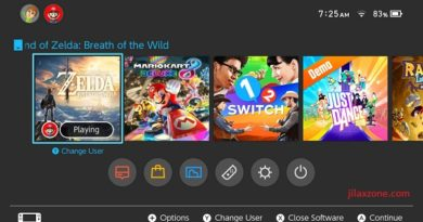 Nintendo Switch jilaxzone.com Main Menu Interface