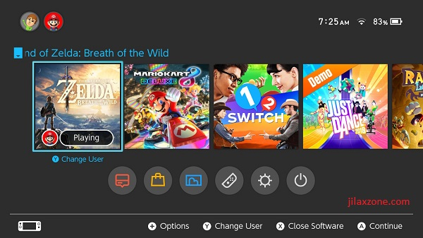Nintendo Switch jilaxzone.com Main Menu Interface