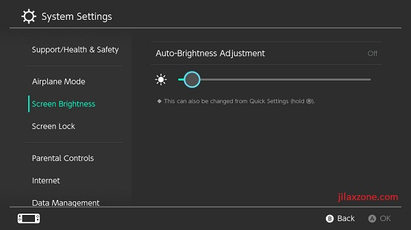 Nintendo Switch jilaxzone.com Screen Brightness