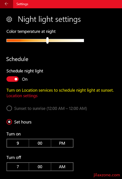 Windows 10 Night Light jilaxzone.com Customize Night Light Settings