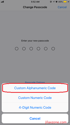 iOS iPhone Security jilaxzone.com Custom Alphanumeric Passcode
