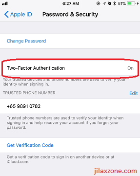 iOS iPhone Security jilaxzone.com turn on two factor authentication