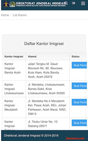 Aplikasi Antrian Paspor Online jilaxzone.com Pilih List Kanim