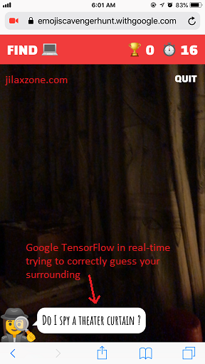 Google Emoji Scavenger Hunt Game jilaxzone.com Real-Time TensorFlow
