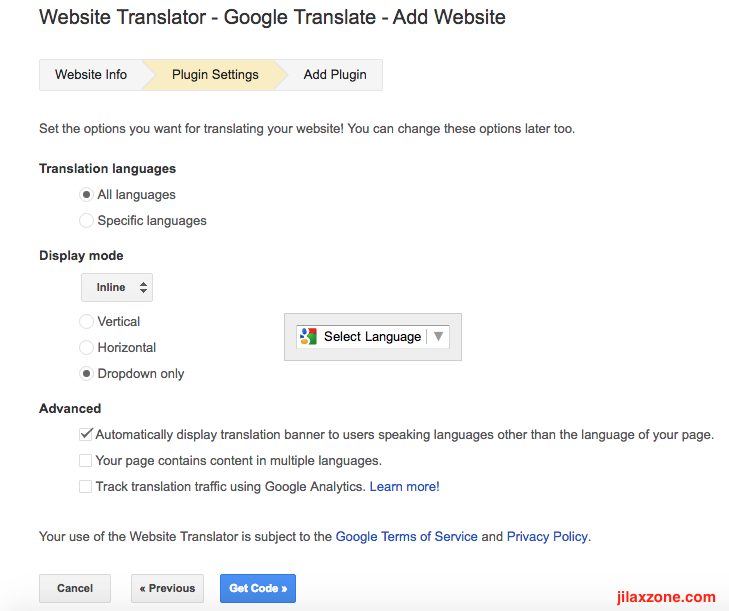 Enable website in different language jilaxzone.com Google Translate Plugin Settings