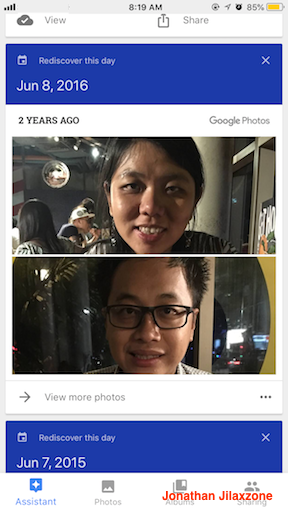 Google Photos jilaxzone.com Rediscover this day feature