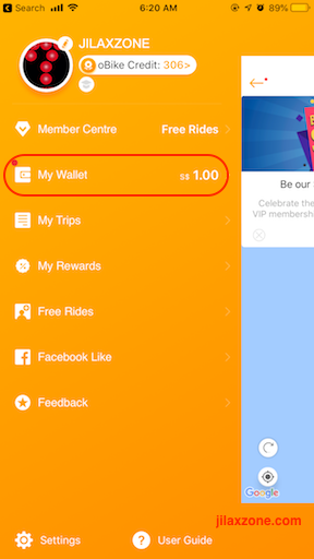oBike app accessing my wallet