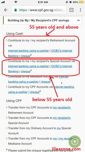3 CPF cash top-up jilaxzone.com contribute to my special account and retirement account