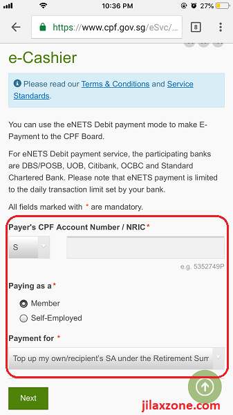 4 CPF cash top-up jilaxzone.com pay using ecashier