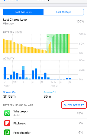 iOS12 Battery Level and Activity jilaxzone.com