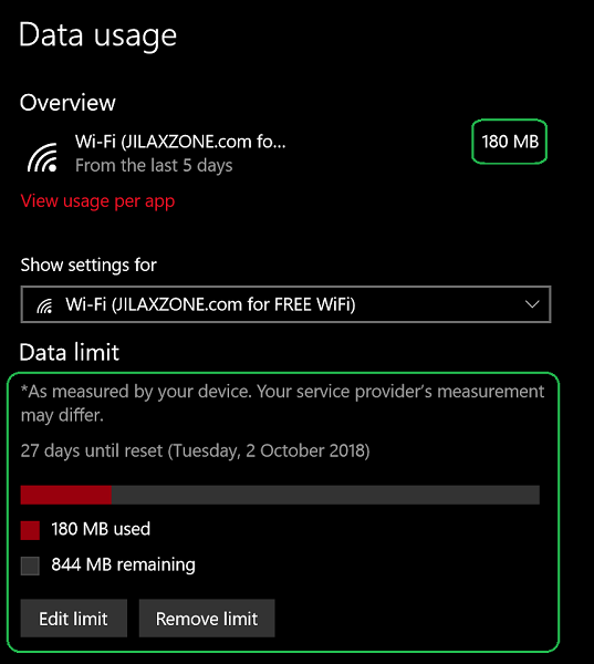 Setting up Wi-Fi as Metered Connection on Windows: Now you can check your remaining data limit