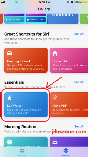 Siri Shortcuts example log water jilaxzone.com