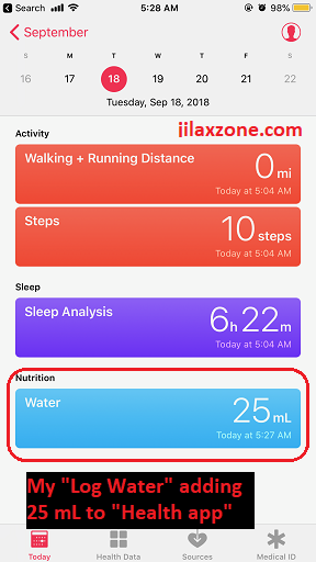 Siri Shortcuts log water added to health app jilaxzone.com