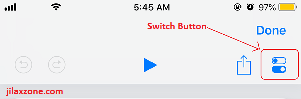 Siri Shortcuts switch button jilaxzone.com