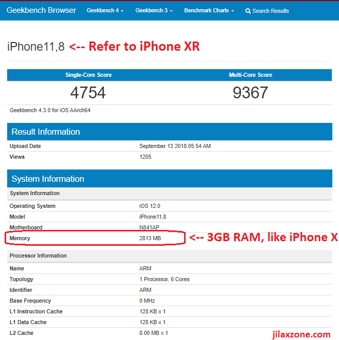 iphone XR 3GB RAM jilaxzone.com