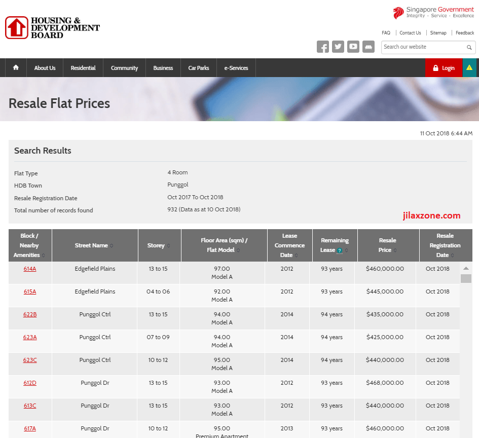 HDB resale flat prices historical prices jilaxzone.com