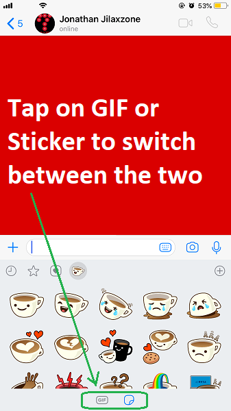WhatsApp Stickers GIF and sticker button jilaxzone.com