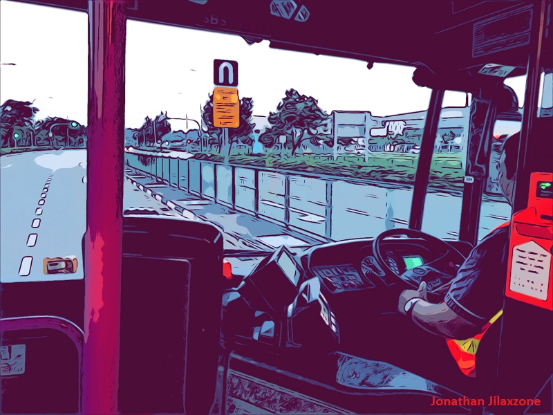 iOS 12 Comic Camera Filter jilaxzone.com Bus Driver doing U-turn
