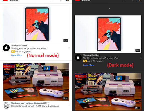 YouTube Dark Mode jilaxzone.com white normal mode vs dark mode