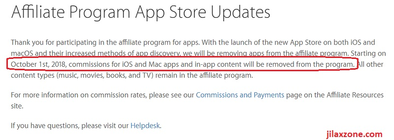 Apple affiliate Program App Store Updates jilaxzone