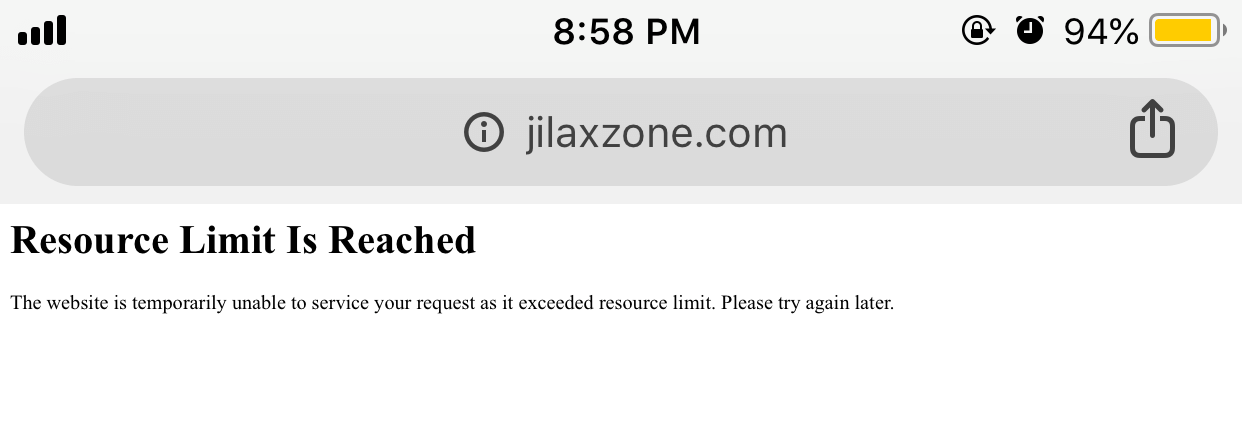 http error 508 resource limit is reached fix jilaxzone.com