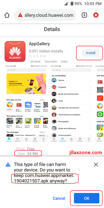 Huawei AppGallery download apk jilaxzone.com