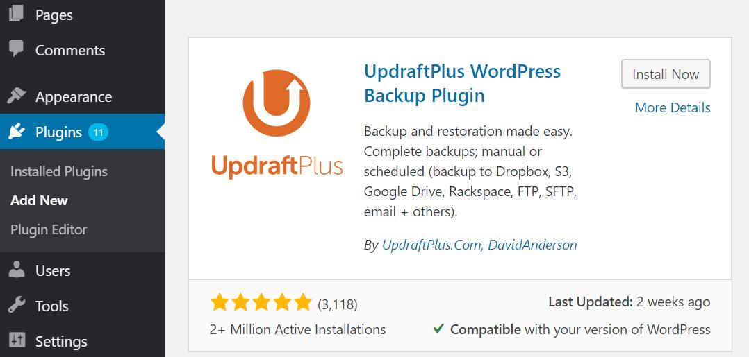 wordpress jilaxzone.com updraftplus install plugin