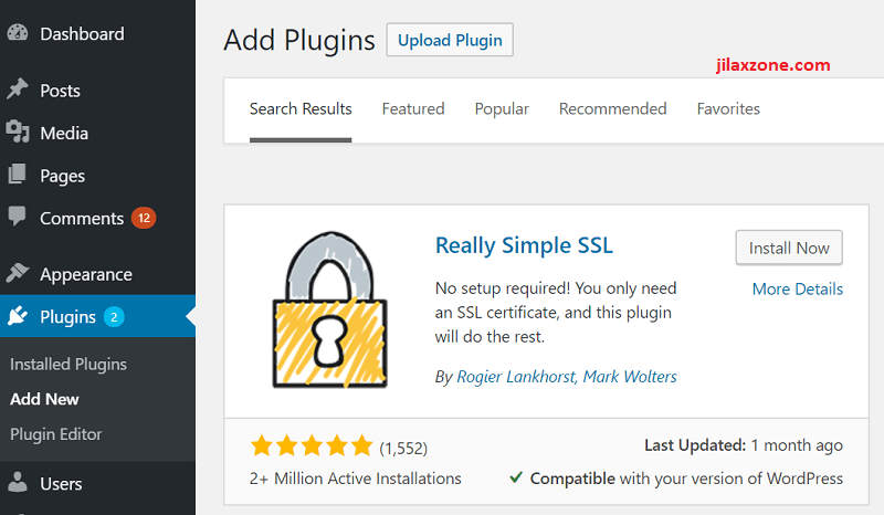 Really Simple SSL WordPress plugin jilaxzone.com