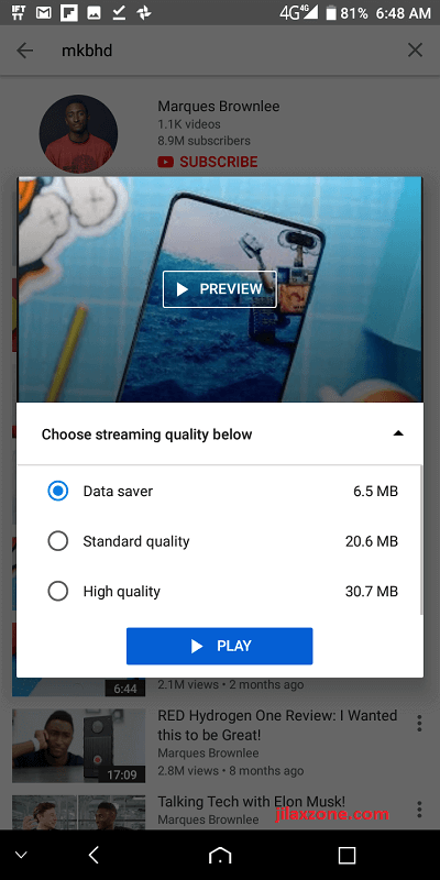 YouTube Go jilaxzone.com data saver MKBHD